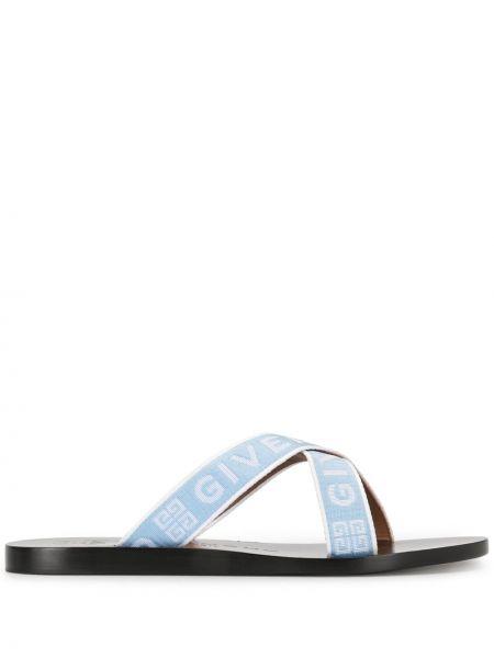 Bawełna niebieski z paskiem sandały otwarty palec u nogi Givenchy