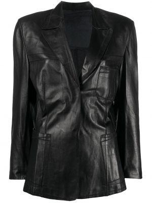 Черный кожаный удлиненный пиджак винтажный A.n.g.e.l.o. Vintage Cult