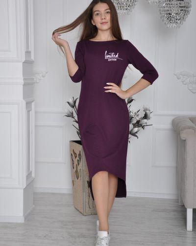 Платье миди со складками с надписью Lovitton