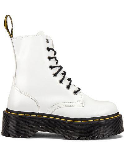 Ażurowy skórzany biały buty na platformie zasznurować Dr. Martens