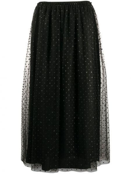 Czarna spódnica maxi z wysokim stanem tiulowa Red Valentino