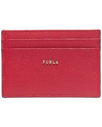Красная золотистая кожаная визитница Furla