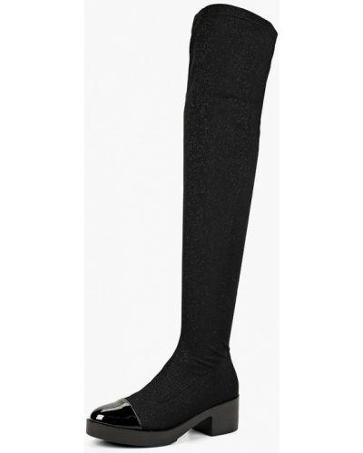 Ботфорты на каблуке черные текстильный Gioseppo