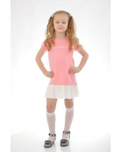 Платье мини розовое с надписью Mango Kids