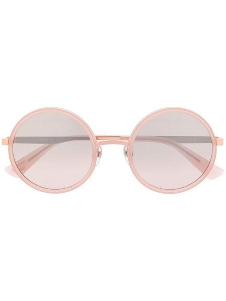 Прямые розовые солнцезащитные очки круглые металлические Diesel