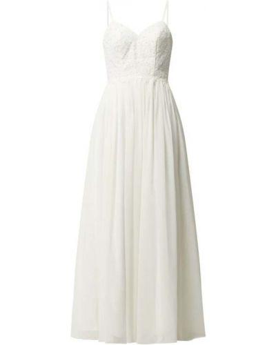 Biała sukienka wieczorowa rozkloszowana z szyfonu Laona