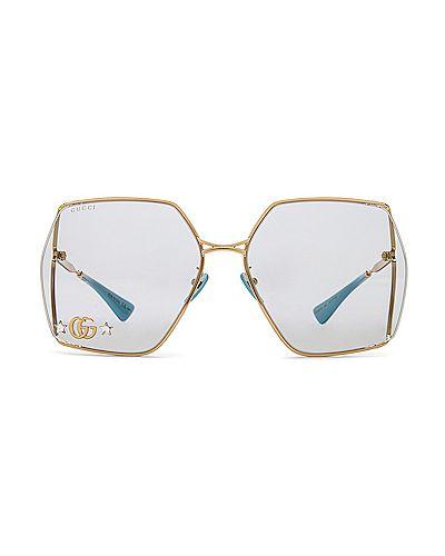 Кожаные синие солнцезащитные очки квадратные Gucci