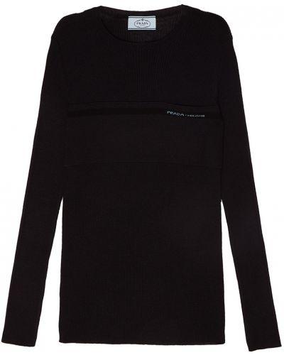 Синий свитер в рубчик Prada