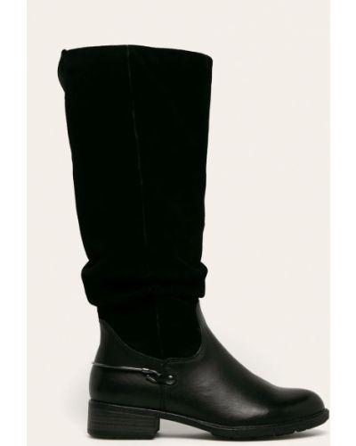 Ботинки на каблуке черные Tamaris
