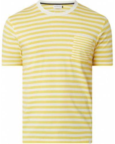 Żółty t-shirt w paski bawełniany Nowadays