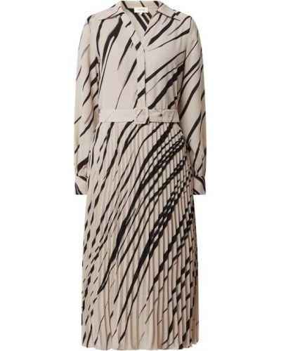 Beżowa sukienka mini rozkloszowana z wiskozy Levete Room