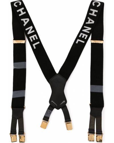 Черные кожаные подтяжки с декоративной отделкой Chanel Pre-owned