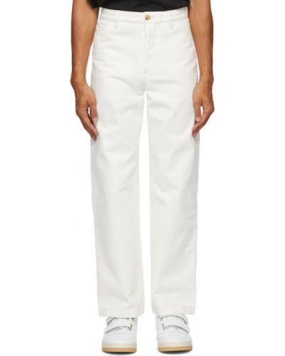Białe spodnie bawełniane z paskiem Acne Studios