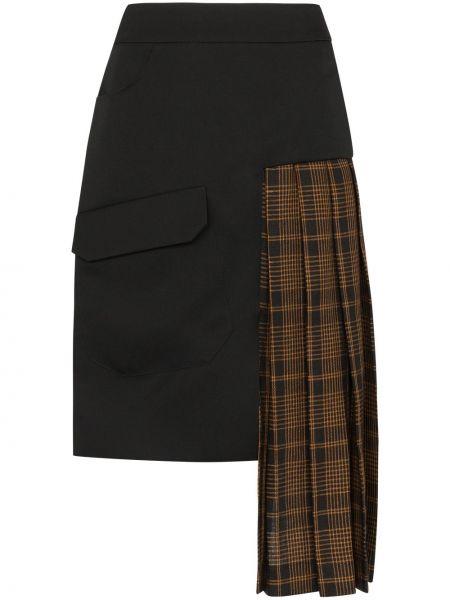 Черная асимметричная юбка макси с карманами круглая Delada