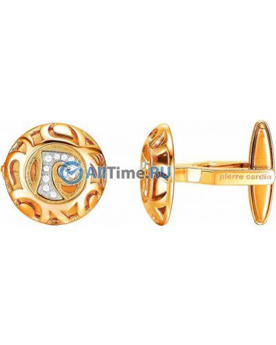 Золотистые запонки золотые с декоративной отделкой Pierre Cardin