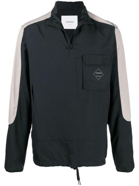 Черная спортивная куртка на молнии с карманами с воротником Soulland