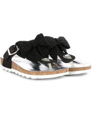 Хлопковые черные сандалии с пряжкой Monnalisa