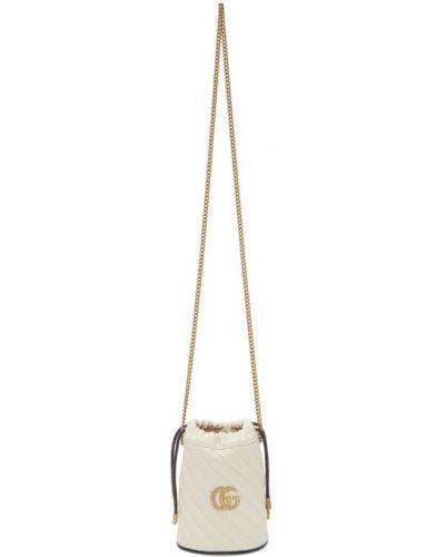 Ze sznurkiem do ściągania skórzany biały torebka na łańcuszku prążkowany Gucci