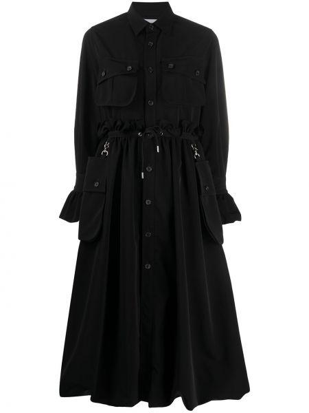 Расклешенное черное длинное пальто с воротником Comme Des Garçons Noir Kei Ninomiya