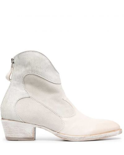 Białe ankle boots skorzane Moma