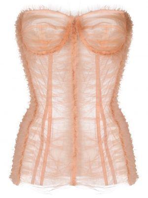 Розовый корсет на молнии с оборками Dolce & Gabbana