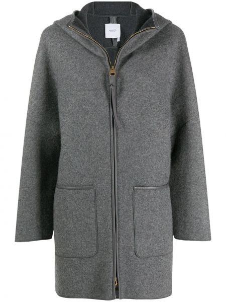 Кашемировая серая куртка с капюшоном с воротником с карманами Agnona