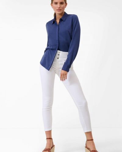 Niebieska bluzka z długimi rękawami z wiskozy Orsay
