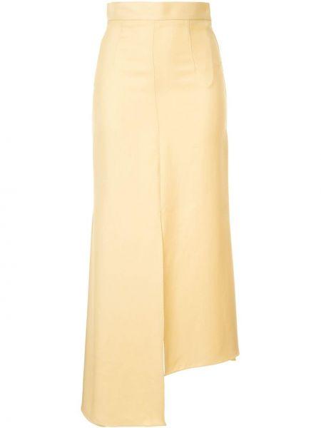Желтая с завышенной талией юбка с разрезом со шлицей Aleksandre Akhalkatsishvili