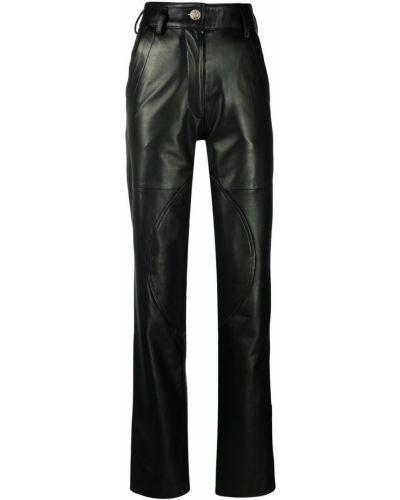 С завышенной талией кожаные черные брюки Manokhi