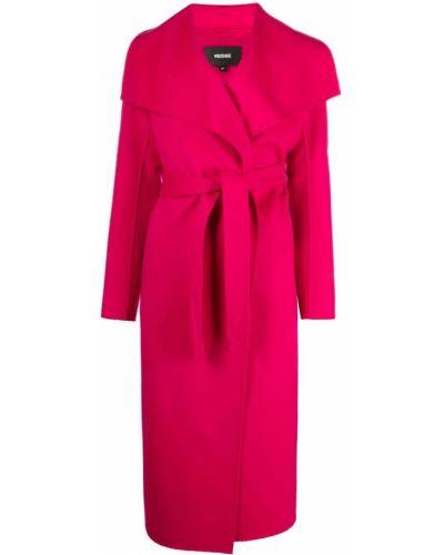 Розовое кожаное длинное пальто с поясом Mackage