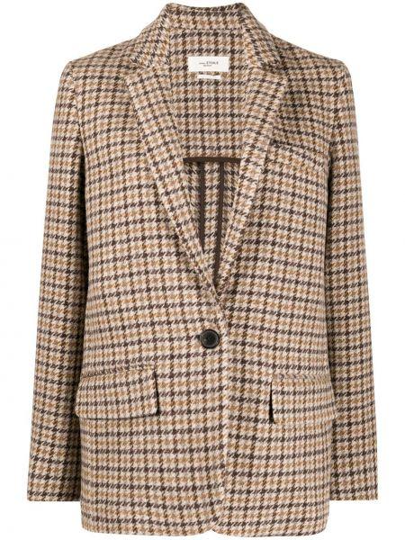 Однобортный коричневый удлиненный пиджак в клетку Isabel Marant étoile