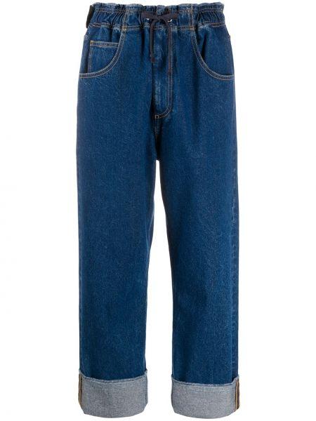 Синие джинсы бойфренды с манжетами в стиле бохо с открытой спиной Opening Ceremony