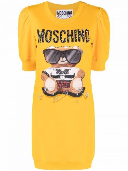 Желтое хлопковое платье Moschino