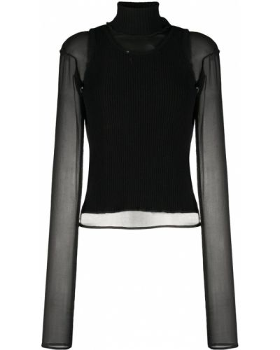 Шелковый тонкий черный вязаный джемпер с высоким воротником Andrea Ya'aqov