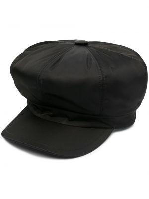 Czarny kapelusz skórzany Prada