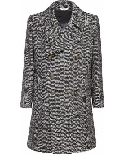 Czarny płaszcz z paskiem bawełniany Bottega Martinese