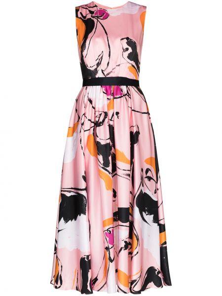Платье миди розовое плиссированное Roksanda