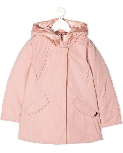 С рукавами розовая куртка с перьями с капюшоном Woolrich Kids