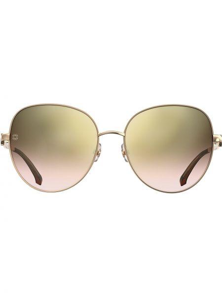 Золотистые коричневые солнцезащитные очки металлические Elie Saab