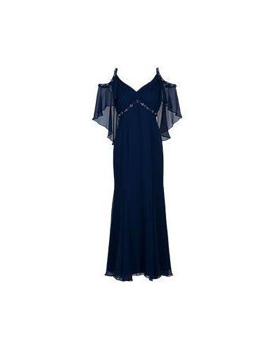Шелковое платье макси - синее Luisa Spagnoli
