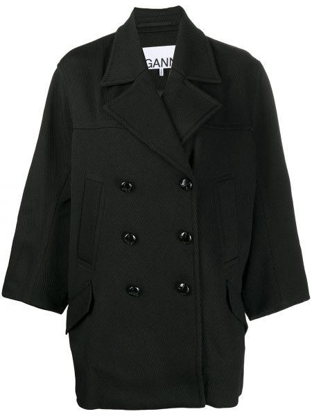 Черное длинное пальто двубортное на пуговицах Ganni