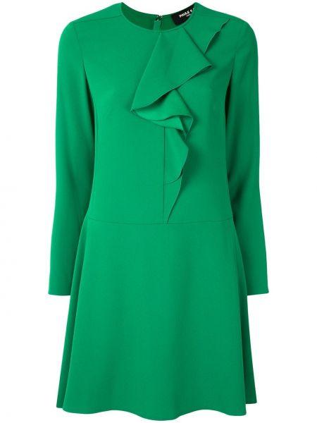 Зеленое платье с рукавами с длинными рукавами с оборками с вырезом Paule Ka
