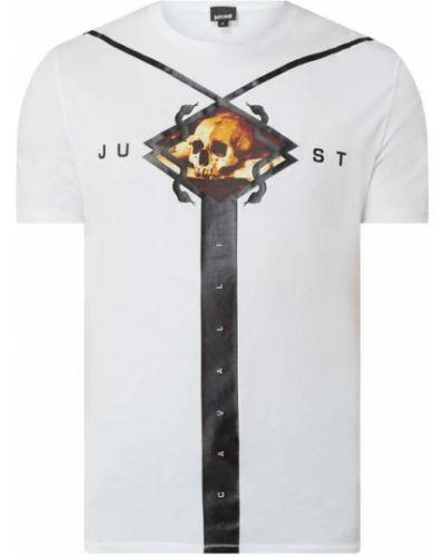 Biały t-shirt bawełniany z printem Just Cavalli