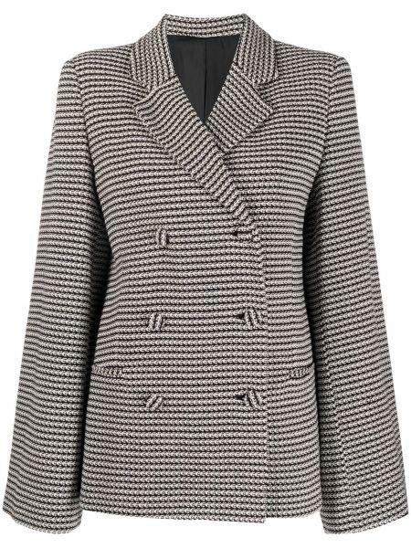 Черный удлиненный пиджак двубортный для полных Toteme