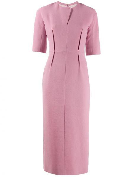 Розовое прямое платье миди с вырезом на молнии Emilia Wickstead