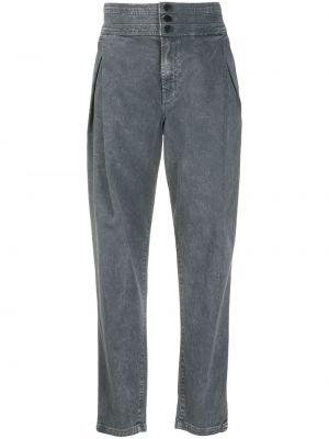 Прямые джинсы с завышенной талией - серые J Brand