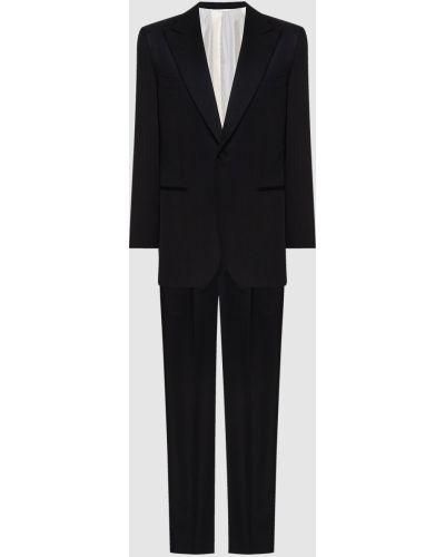 Шерстяной черный костюм в полоску Stefano Ricci