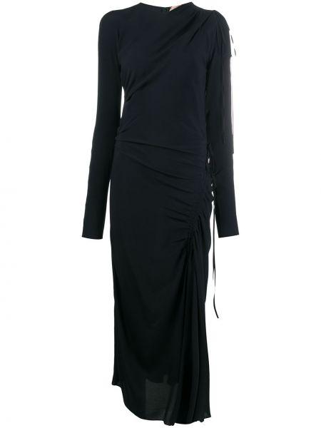 Черное асимметричное платье миди на молнии с вырезом N21