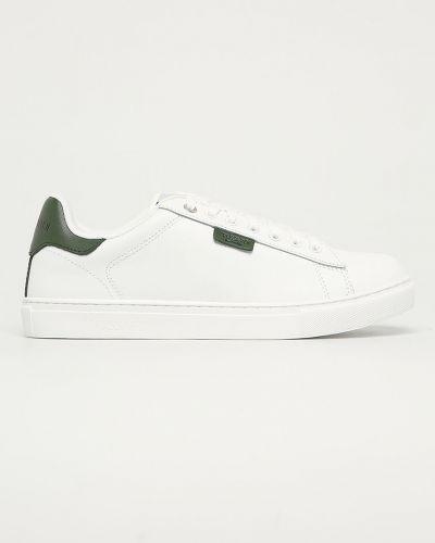 Białe sneakersy skorzane sznurowane Trussardi Jeans