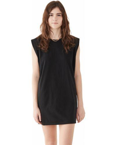 Ватное трикотажное черное платье Lna
